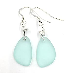 Best selling Nautical Sea Foam GREEN Sea Glass Earrings with Charming Handmade Silver Knot on Sterling Silver Hooks Terrific Christmas Gift
