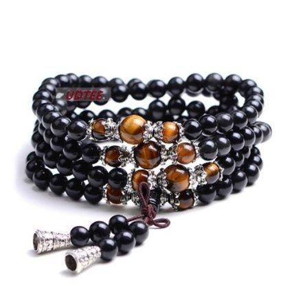 - Ellami New/fashion Black Color Tiger Eye Crystal Gemstone Tibet Buddhist Buddha Meditation 108 Prayer Bead Mala Bracelet/necklace