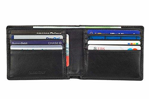 Mens Wallet Leather Slim Minimalist Front Pocket Bifold Soft Nappa Leather Wallets RFID Protection (Mens Black Bi Fold Wallet)