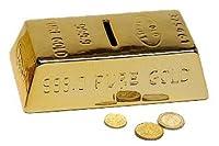 Spardose Goldbarren, Gold Barren Sparbüchse mit Schlüssel und Schloss,...