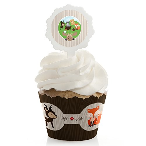 Woodland Cup Flat (Big Dot of Happiness Woodland Creatures – Baby Shower or Birthday Party Cupcake Wrapper and Pick - Cupcake Decorating Kit - Set of 24)