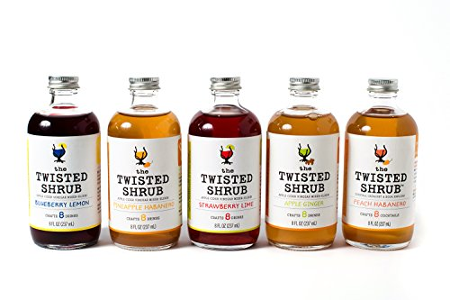 Price comparison product image The Twisted Shrub - 5-FLAVOR PACK - STRAWBERRY LIME + BLUEBERRY LEMON + PINEAPPLE HABANERO + APPLE GINGER + PEACH HABANERO - Apple Cider Vinegar drink mixers for healthier beverages