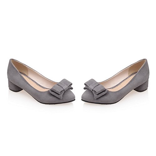 BalaMasa Ladies Chunky Heels Spun Gold Bowknot Low-Cut Uppers Imitated Suede Pumps-Shoes Gray 7BMmmO9n