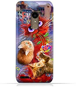 LG K10 2018 TPU Silicone Protective Case with Adorable Cute Cats Design