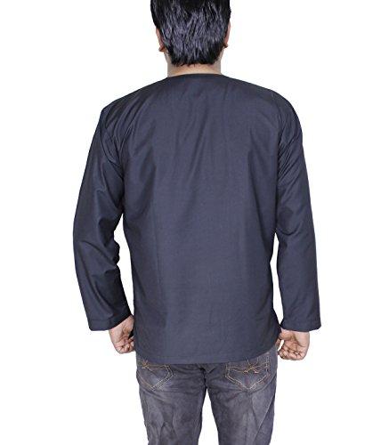 Herren Kurta in Schwarz Baumwolle Ethnisches Herrenhemd aus Indien