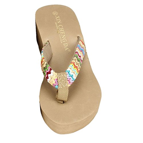 Clode® Damen Sommer Flat Klippzehe Herringbone Sandalen Plattform Sandalen Strand Flip Flops Lady Slipper Khaki