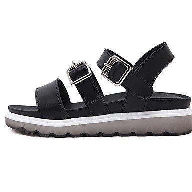 LvYuan Tacón Plano-Confort-Sandalias-Informal-PU-Negro Blanco White