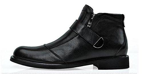 Happyshop (tm) Mens Äkta Läder Dragkedja Spänne Utformning Formella Affärs Chukka Skor Snö Boot Boots Svart