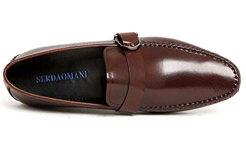 Serdaomani Hombres Suela Suave Fomral Cuero Oxford Punta Redonda Zapatos Marrón
