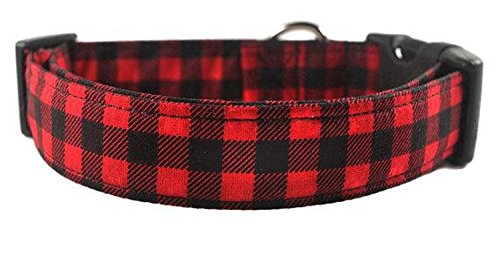 Red and Black Checkered Dog Collar - The Buffalo Plaid by Collars by Design