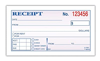 Adams Money and Rent Receipt, 2.75 x 5.38 Inches, 2-Parts, Carbonless, White and Canary