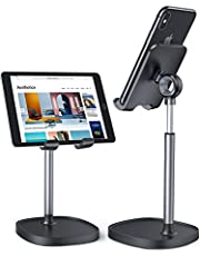 Cell Phone Stand, Angle Height Adjustable LISEN Cell Phone iPAD Stand for Desk, Thick Case Friendly iPhone Holder Stand for Desk, Compatible with All Mobile Phones, Small iPad(4-9.7 inch)