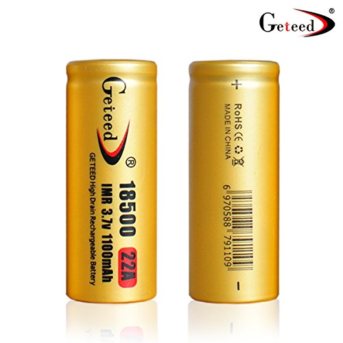 Geteed 18500 1100mah 22a 3.7v Flat Top Rechargeable Powerful Lithium Ion Battery (2 PCS)