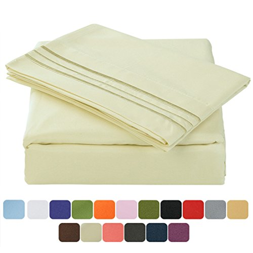 TasteLife 105 GSM Deep Pocket Bed Sheet Set Brushed Hypoallergenic Microfiber 1800 Bedding Sheets Wrinkle, Fade, Stain Resistant - 3 Piece(Ivory,Twin XL) 66 Piece Place