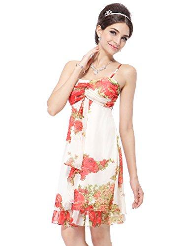 Ever Pretty Spaghetti Straps Floral Print Ruffles Chiffon Short Club Dress 03184, HE03184RD10, Red, 8US