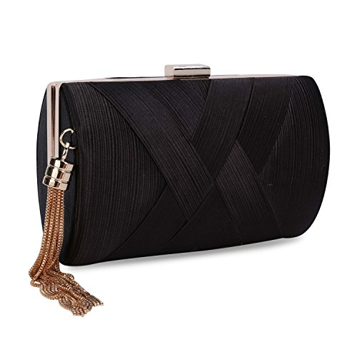 Black Silk Clutch - UBORSE Women's Elegant Tassel Pendant Silk Evening Party Clutch Bags Bridal Wedding Purse Black
