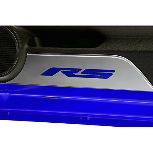 Upgrade Your Auto Brushed Door Panel Kick Plates w/Blue Carbon Fiber 'RS' Inlay for 2010-14 Camaro (Panels Door Rs)