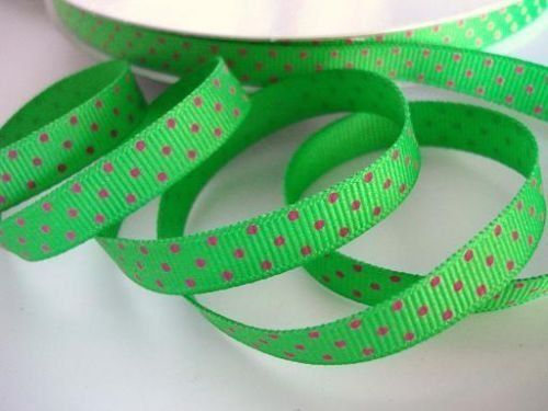 (50 yards Green/pink Swiss Polka Dots Grosgrain 3/8