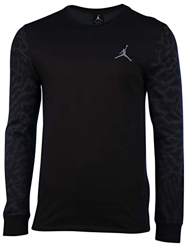 Jordan Mens Nike Dri-Fit Cloud Elephant L/S T-Shirt-Black-Medium