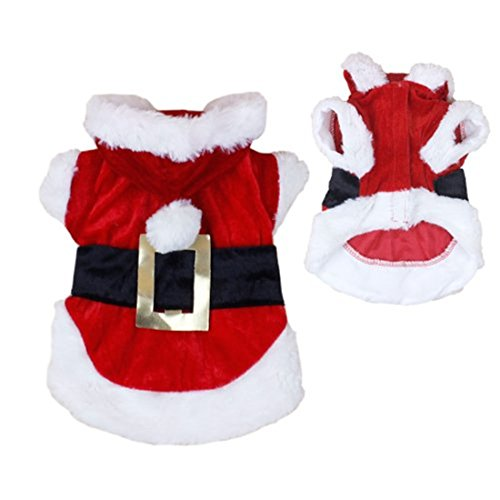[New Santa Dog Costume Christmas Pet Clothes Winter Hoodie Coat Clothes for Dog Pet Clothing Chihuahua Yorkshire Poodle (M)] (Dog Christmas Costumes)