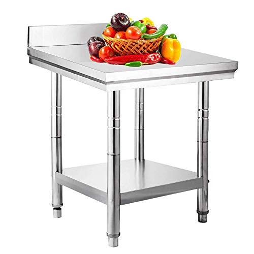 Mophorn Stainless Steel Work Table with Backsplash 24x24 Inch Commercial Food Prep - Table Backsplash