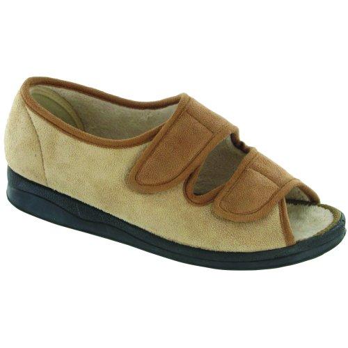 Mirak Louise Touch Fastening Open Toe Slipper / Ladies Slipper / Womens Slippers Beige UpRBog