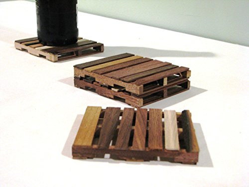 Walnut Wood Pallet Coasters, Wood Drink Coasters Gift Set of 4 Wood Coasters made from Walnut