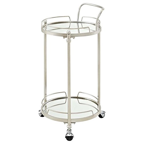 Round Bar Cart in Silver Finish by Linon
