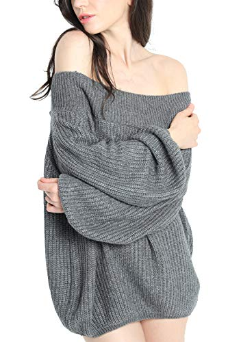 - Liny Xin Women's Winter Cashmere Off Shoulder Puff Sleeve Loose Oversized Sweater Pullover Knit Wool Tops (Grey)