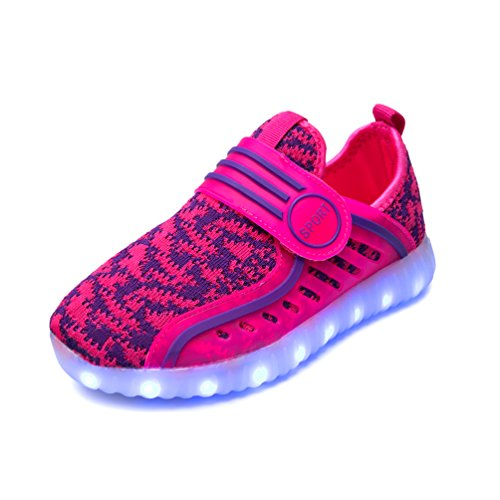 KEVENI Light Up Shoes Led Luminous Sneakers For Kids Boys Girls On Party PINK 31 (Halloween Party Girls 2017)