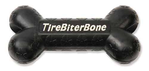 TireBiters Large Chew Toy Bone with Treat Station, Black, 7-1/4-Inch