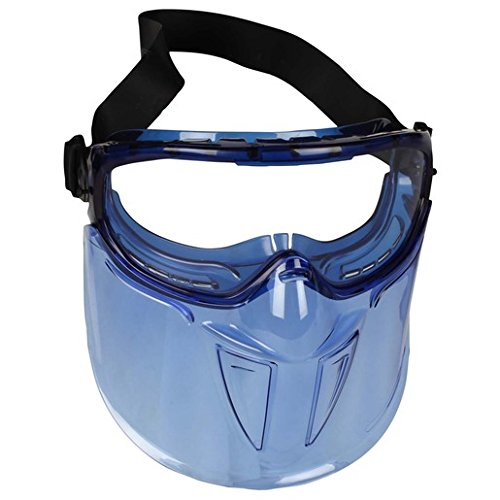 Kimberly-Clark Apparel 18629 Professional Jackson Safety V90 Shield Monogoggle XTR Indirect Vent Splash Goggles with Blue Frame, Clear Anti-Fog Lens and Polycarbonate Face Shield, 15.34 fl. - Lens Xtr Clear
