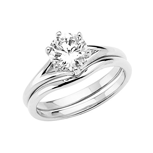 Sonia Jewels 14k White Gold Cubic Zirconia CZ Wedding Band and Engagement Bridal Ring Two Piece Set Size 7