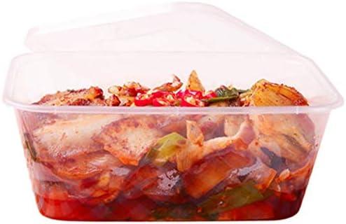 600pcs太いスクエア使い捨て弁当箱の食品はふた付きサービスプラスチックファーストフードフルーツサラダミル食事ボックス包装します,500ML