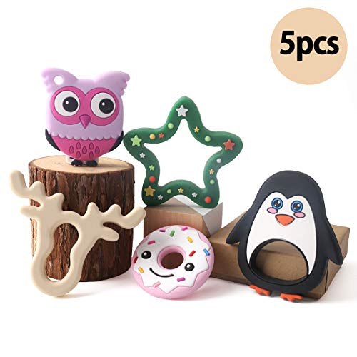 Baby 5pc Silicone Teething Set Organic Sensory Toys for Babies Elk Penguin Animal Teether Pain Relief Toys