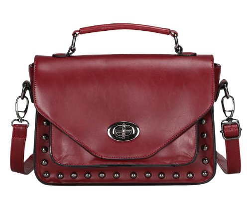 Women's Retro Hobo Messenger PU Leather Shoulder Handbag(Wine red) - 5