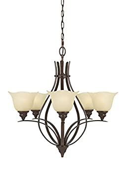 Murray Feiss F2055/5GBZ Morningside 5 Light Single Tier Chandelier, Grecian Bronze