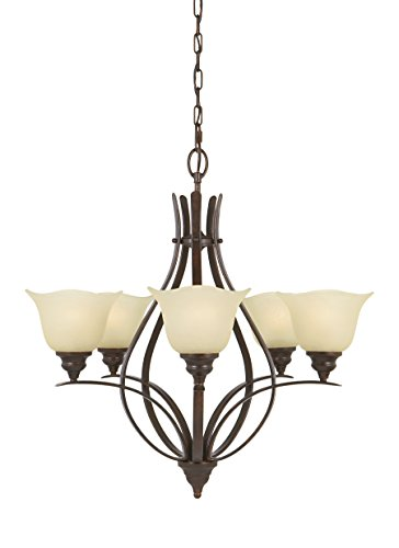 Feiss F2055 5GBZ Morningside Chandelier Lighting, Bronze, 5-Light 26 Dia x 26 H 500watts