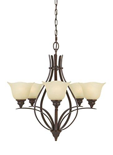 Feiss F2055 5GBZ Morningside Chandelier Lighting, Bronze, 5-Light 26 Dia x 26 H 500watts