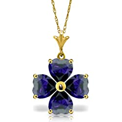 14K Gold Heart-shaped Natural Sapphire Pendant Necklace