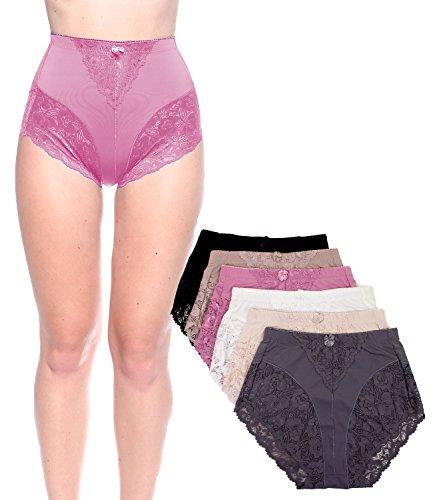 Light Control Brief (Barbra's 6 Pack Women's Light Control Full Coverage Lace Briefs Panties (Medium))