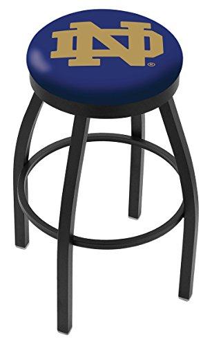 Notre Dame Fighting Irish ND Black Swivel Bar Stool with Blue Cushion (30