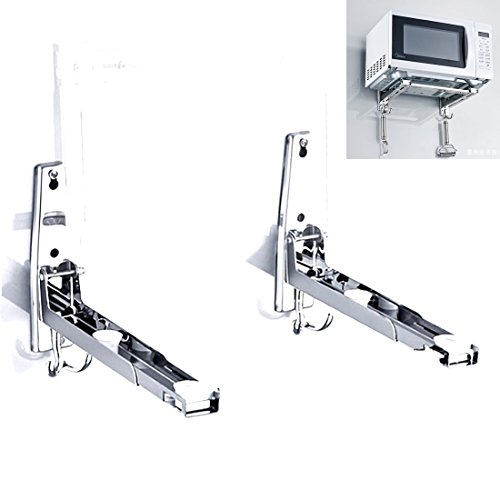 MOTONG 304 Stainless Steel Microwave Oven Wall Mount Stand Holder Shelf with Removable ()