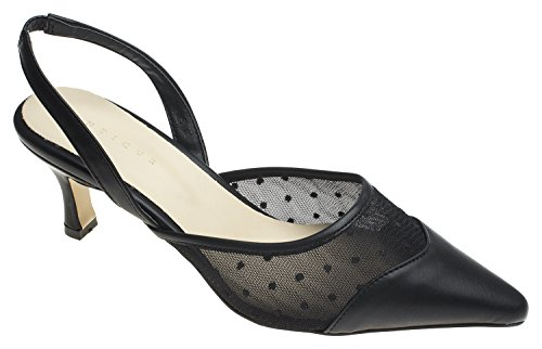 AnnaKastle Womens Dot Accented Mesh Heel Pumps Slingback Mule Shoes Leather Mesh Mules