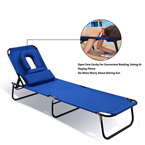 Goplus Folding Chaise Lounge Chair Bed Outdoor Patio Beach