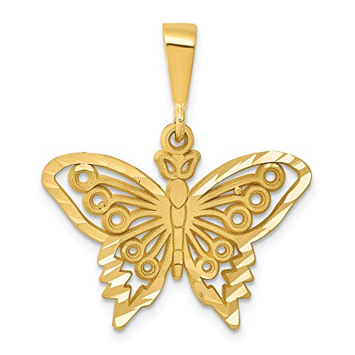 (Jewel Tie 14K Yellow Gold Butterfly Charm - (1.08 in x 0.94 in))