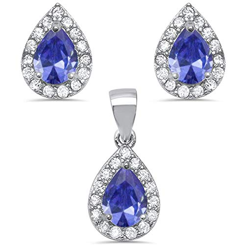 Set Shape Earrings Tanzanite - Pear Shape Simulated Tanzanite & Cz .925 Sterling Silver Earring & Pendant Jewelry set (EARRING4930-TZ)