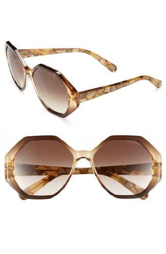 Velvet Eyewear Jami Gold Frame / Brown Fade Lens Ocatgon Sunglasses (Fade Frame Gold Lens)