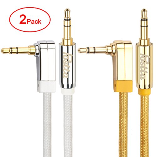 Postta 3.5MM Braided Stereo Audio cable(10 Feet)with Premium Metal Shell-Angled Male to Male AUX Cable for Car Stereos,Smartphones,Tablets,PC,Media Players and more-2 Pack(Golden/White)