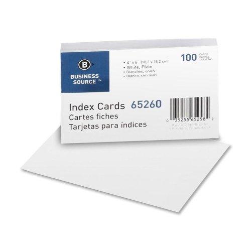 Wholesale CASE of 25 - Bus. Source Plain Index Cards-Index Cards, Plain, 90lb., 4''x6'', 100/PK, White